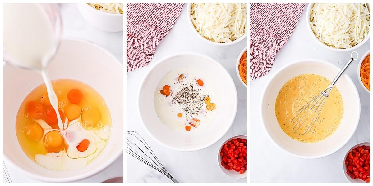 mixing eggs for breakfast casserole