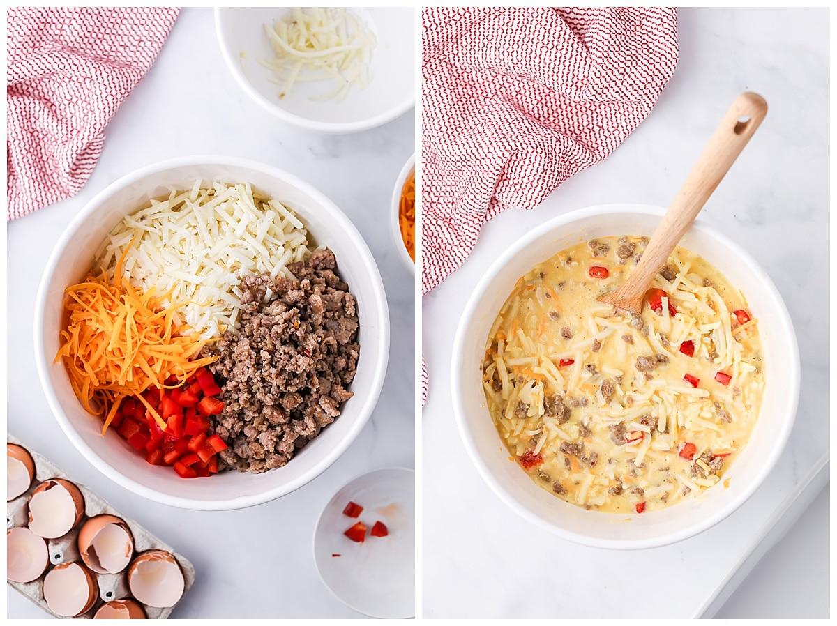 mixing ingredients for breakfast casserole