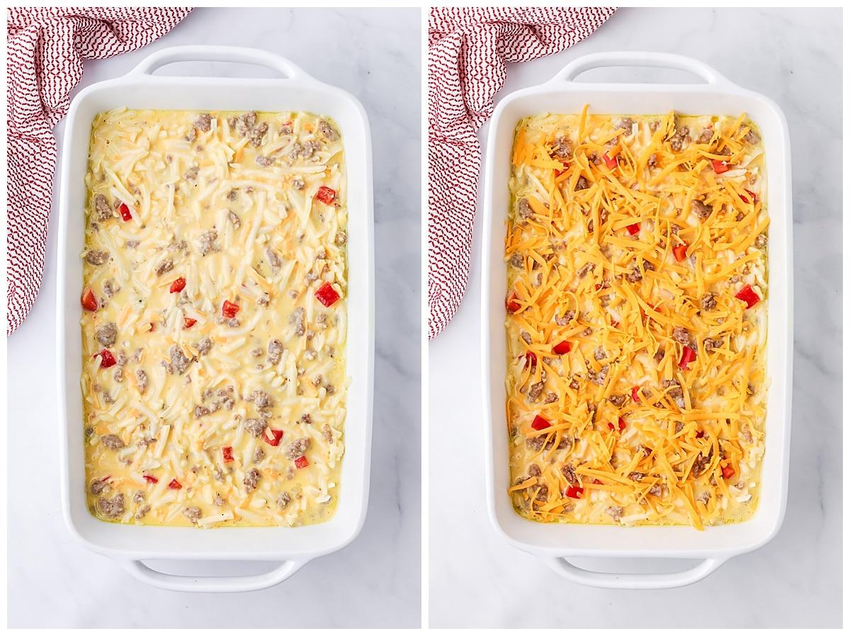 breakfast casserole ready to bake