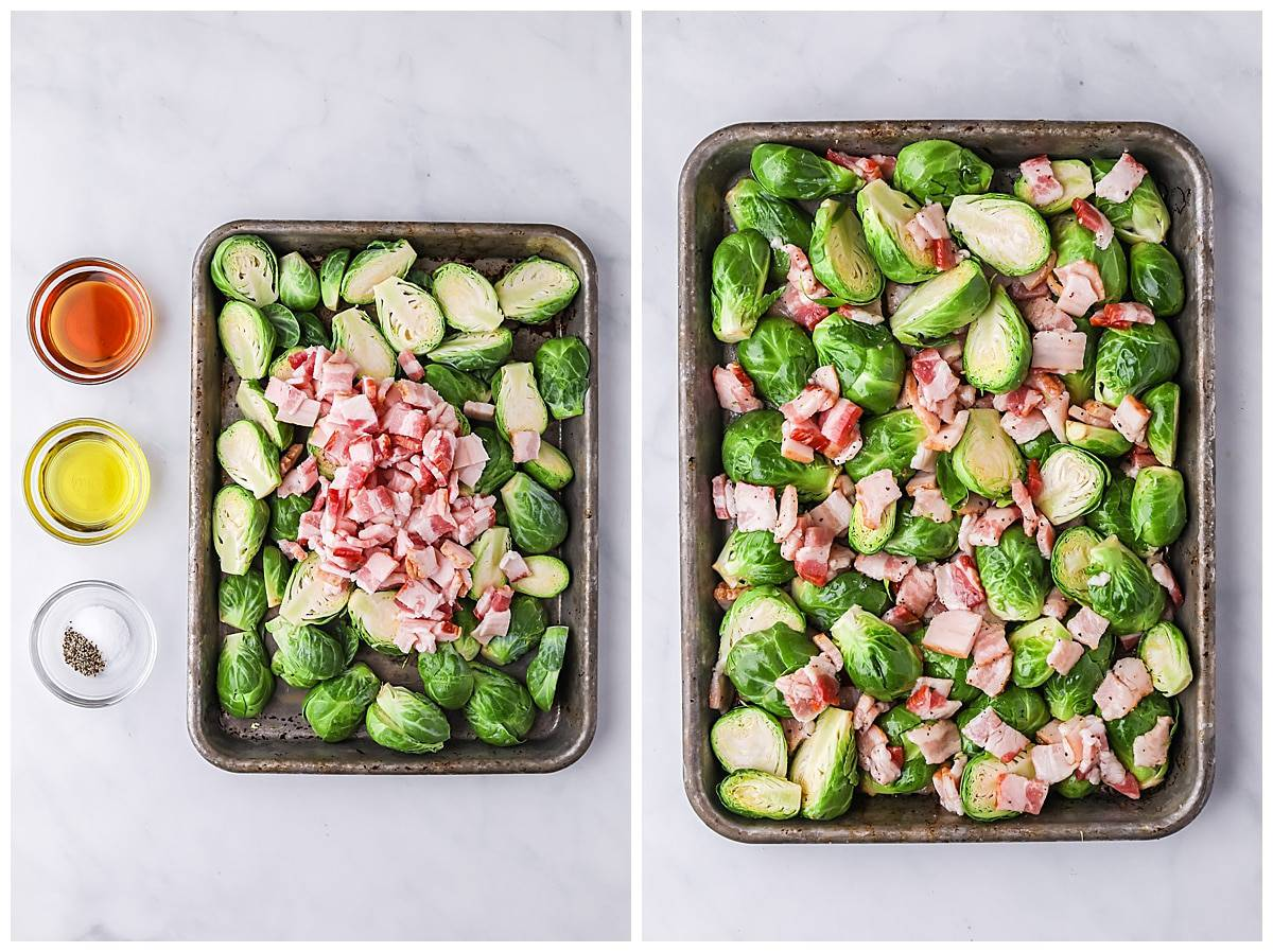 maple bacon brussels sprouts ready for oven
