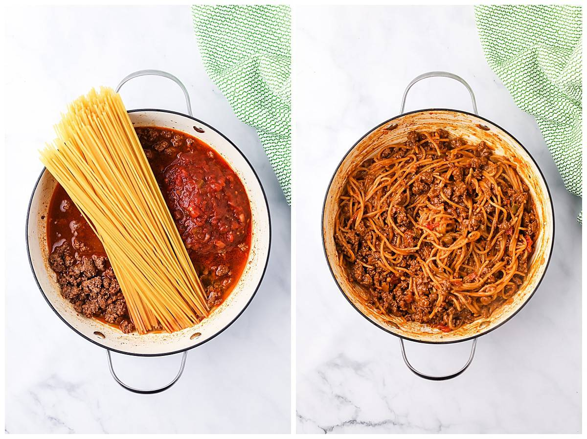 cooking noodles for one pot taco spaghetti