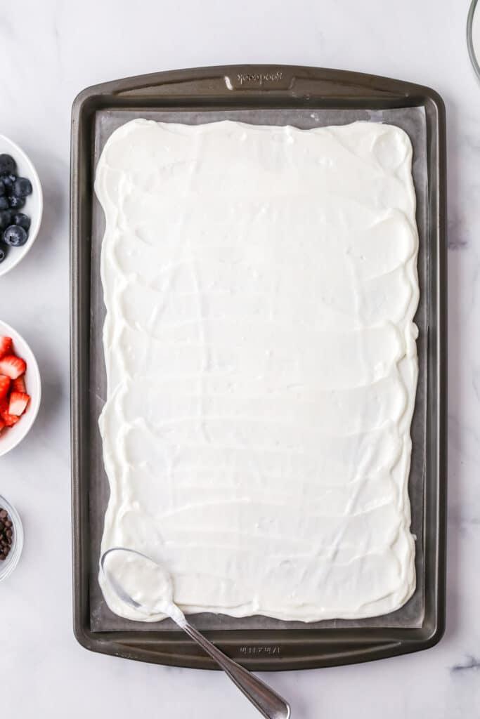 making. yogurt bark