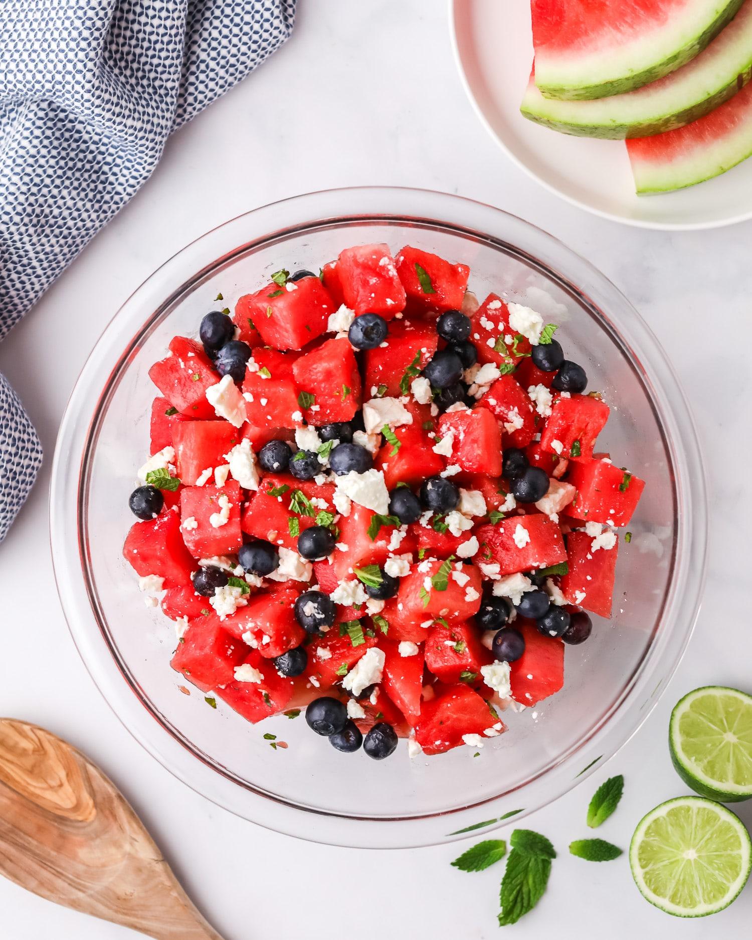 watermelon feta mint salad