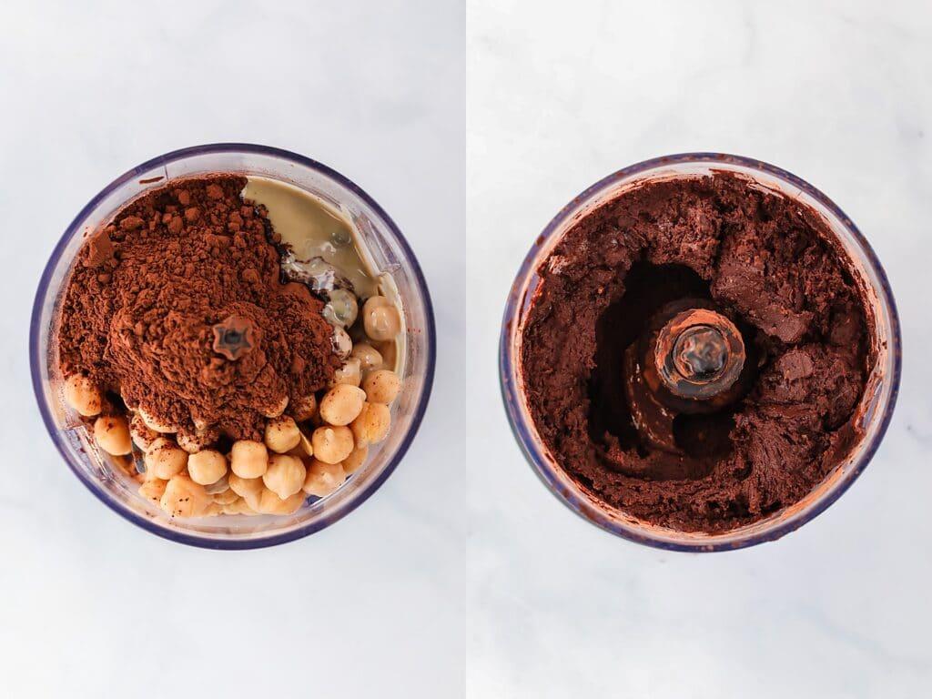 making chocolate hummus